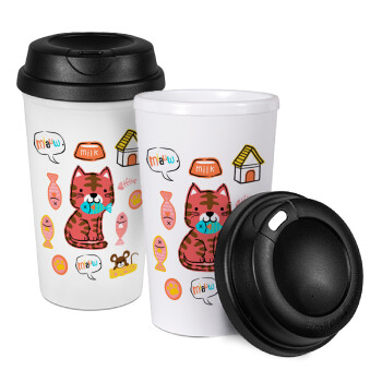Cats and Fishes, Κούπα ταξιδιού πλαστικό (BPA-FREE) με καπάκι βιδωτό, διπλού τοιχώματος (θερμό) 330ml (1 τεμάχιο)