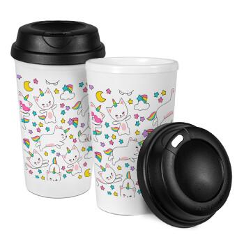 Cats unicorns, Κούπα ταξιδιού πλαστικό (BPA-FREE) με καπάκι βιδωτό, διπλού τοιχώματος (θερμό) 330ml (1 τεμάχιο)