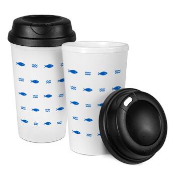 Ψαράκια, Κούπα ταξιδιού πλαστικό (BPA-FREE) με καπάκι βιδωτό, διπλού τοιχώματος (θερμό) 330ml (1 τεμάχιο)