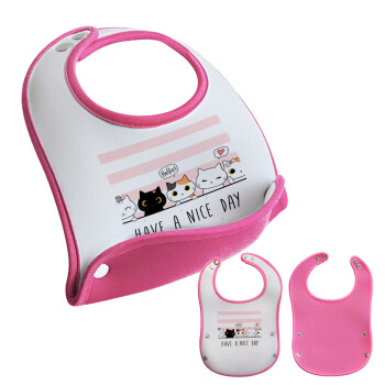 Have a nice day cats, Σαλιάρα μωρού Ροζ κοριτσάκι, 100% Neoprene (18x19cm)