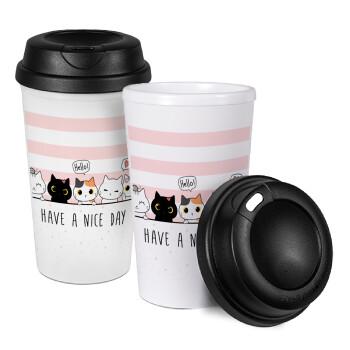 Have a nice day cats, Κούπα ταξιδιού πλαστικό (BPA-FREE) με καπάκι βιδωτό, διπλού τοιχώματος (θερμό) 330ml (1 τεμάχιο)