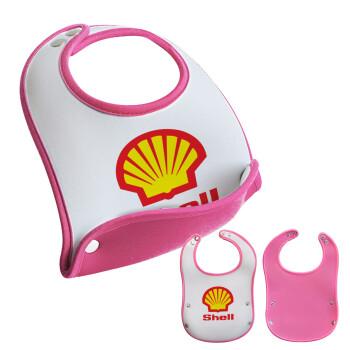 Πρατήριο καυσίμων SHELL, Σαλιάρα μωρού Ροζ κοριτσάκι, 100% Neoprene (18x19cm)