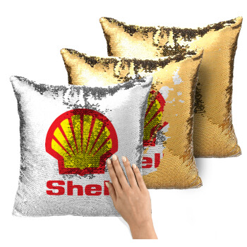Πρατήριο καυσίμων SHELL, Μαξιλάρι καναπέ Μαγικό Χρυσό με πούλιες 40x40cm περιέχεται το γέμισμα