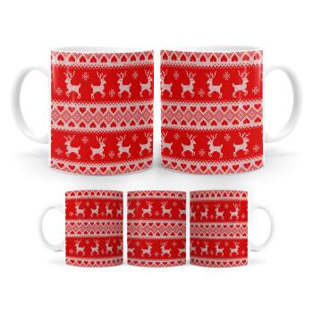 Χριστουγεννιάτικο πλεκτό ελάφια, Κούπα, κεραμική, 330ml (1 τεμάχιο)