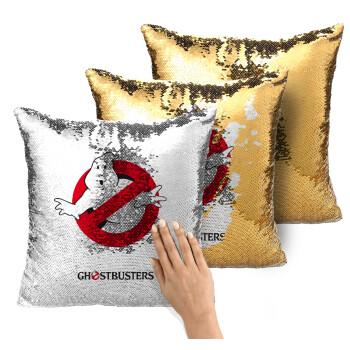 Ghostbusters, Μαξιλάρι καναπέ Μαγικό Χρυσό με πούλιες 40x40cm περιέχεται το γέμισμα