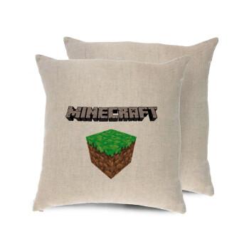 Minecraft dirt, Μαξιλάρι καναπέ ΛΙΝΟ 40x40cm περιέχεται το γέμισμα