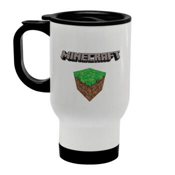 Minecraft dirt, Κούπα ταξιδιού ανοξείδωτη με καπάκι, διπλού τοιχώματος (θερμό) λευκή 450ml