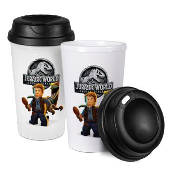 Jurassic world, Κούπα ταξιδιού πλαστικό (BPA-FREE) με καπάκι βιδωτό, διπλού τοιχώματος (θερμό) 330ml (1 τεμάχιο)