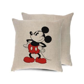Mickey Classic, Μαξιλάρι καναπέ ΛΙΝΟ 40x40cm περιέχεται το γέμισμα