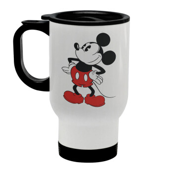 Mickey Classic, Κούπα ταξιδιού ανοξείδωτη με καπάκι, διπλού τοιχώματος (θερμό) λευκή 450ml