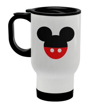 Mickey head, Κούπα ταξιδιού ανοξείδωτη με καπάκι, διπλού τοιχώματος (θερμό) λευκή 450ml