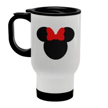 Minnie head, Κούπα ταξιδιού ανοξείδωτη με καπάκι, διπλού τοιχώματος (θερμό) λευκή 450ml