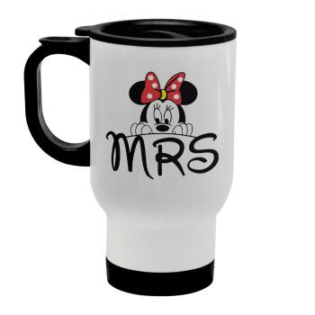Minnie Mrs, Κούπα ταξιδιού ανοξείδωτη με καπάκι, διπλού τοιχώματος (θερμό) λευκή 450ml