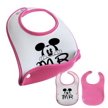 Mikey Mr, Σαλιάρα μωρού Ροζ κοριτσάκι, 100% Neoprene (18x19cm)