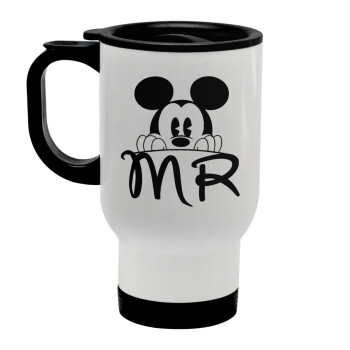 Mikey Mr, Κούπα ταξιδιού ανοξείδωτη με καπάκι, διπλού τοιχώματος (θερμό) λευκή 450ml