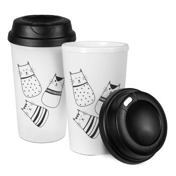 Cute cats, Κούπα ταξιδιού πλαστικό (BPA-FREE) με καπάκι βιδωτό, διπλού τοιχώματος (θερμό) 330ml (1 τεμάχιο)