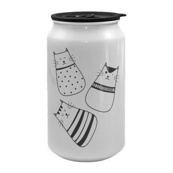 Cute cats, Κούπα ταξιδιού μεταλλική με καπάκι (tin-can) 500ml