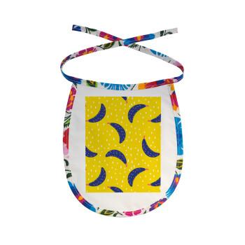 Yellow seamless with blue bananas, Σαλιάρα μωρού αλέκιαστη με κορδόνι Χρωματιστή