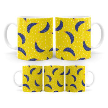 Yellow seamless with blue bananas, Κούπα, κεραμική, 330ml (1 τεμάχιο)