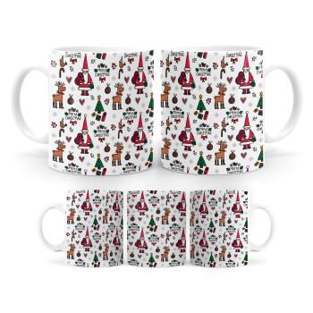 Santas, Deers & Trees, Κούπα, κεραμική, 330ml (1 τεμάχιο)