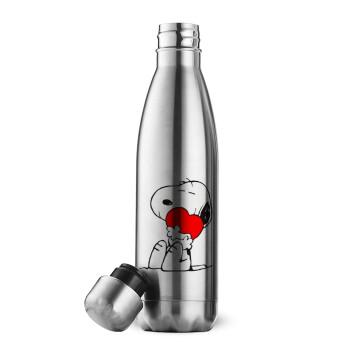 Snoopy, Μεταλλικό παγούρι θερμός Inox (Stainless steel), διπλού τοιχώματος, 500ml