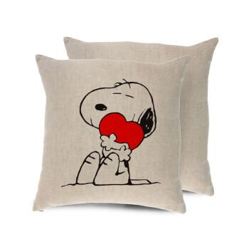 Snoopy, Μαξιλάρι καναπέ ΛΙΝΟ 40x40cm περιέχεται το γέμισμα