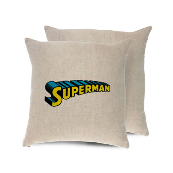 Superman vintage, Μαξιλάρι καναπέ ΛΙΝΟ 40x40cm περιέχεται το γέμισμα