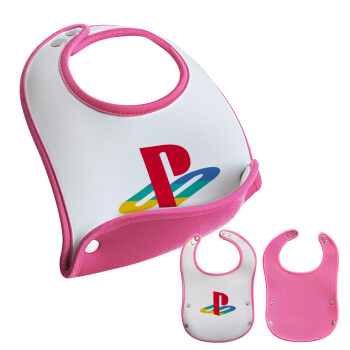 Playstation, Σαλιάρα μωρού Ροζ κοριτσάκι, 100% Neoprene (18x19cm)