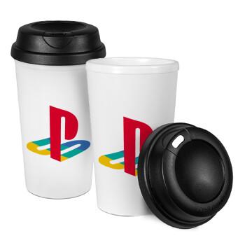 Playstation, Κούπα ταξιδιού πλαστικό (BPA-FREE) με καπάκι βιδωτό, διπλού τοιχώματος (θερμό) 330ml (1 τεμάχιο)
