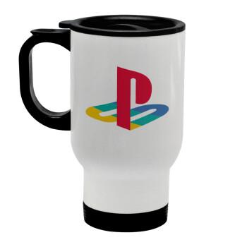 Playstation, Κούπα ταξιδιού ανοξείδωτη με καπάκι, διπλού τοιχώματος (θερμό) λευκή 450ml