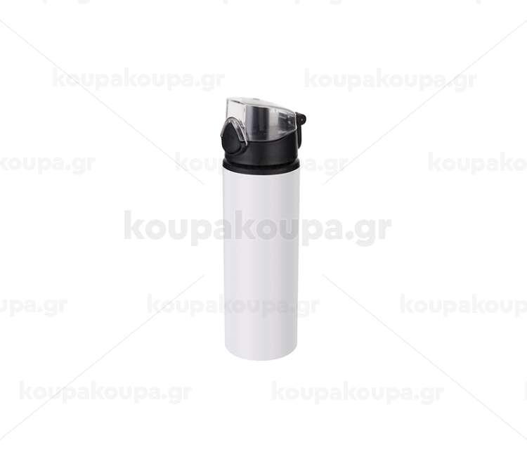 750ml Alu water bottle with Black cap (White)
