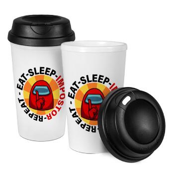 Among US Eat Sleep Repeat Impostor, Κούπα ταξιδιού πλαστικό (BPA-FREE) με καπάκι βιδωτό, διπλού τοιχώματος (θερμό) 330ml (1 τεμάχιο)
