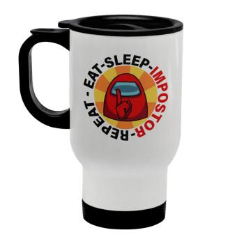 Among US Eat Sleep Repeat Impostor, Κούπα ταξιδιού ανοξείδωτη με καπάκι, διπλού τοιχώματος (θερμό) λευκή 450ml