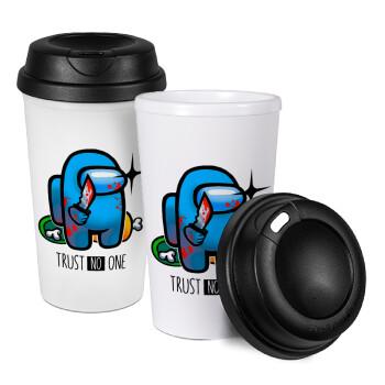 Among Trust no one, Κούπα ταξιδιού πλαστικό (BPA-FREE) με καπάκι βιδωτό, διπλού τοιχώματος (θερμό) 330ml (1 τεμάχιο)