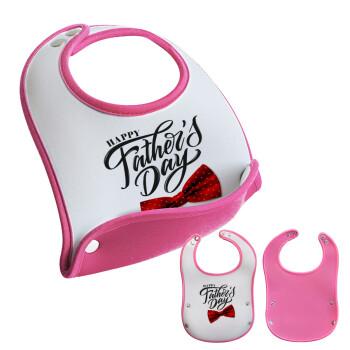 Happy father's Days, Σαλιάρα μωρού Ροζ κοριτσάκι, 100% Neoprene (18x19cm)