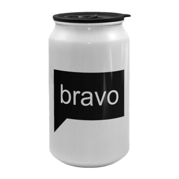 Bravo, Κούπα ταξιδιού μεταλλική με καπάκι (tin-can) 500ml
