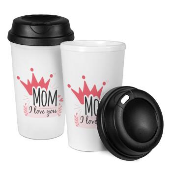 Mother's day I Love you Mom, Κούπα ταξιδιού πλαστικό (BPA-FREE) με καπάκι βιδωτό, διπλού τοιχώματος (θερμό) 330ml (1 τεμάχιο)