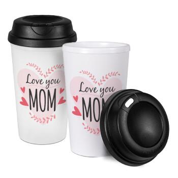 Mother's day I Love you Mom heart, Κούπα ταξιδιού πλαστικό (BPA-FREE) με καπάκι βιδωτό, διπλού τοιχώματος (θερμό) 330ml (1 τεμάχιο)