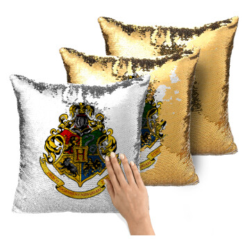 Hogwart's, Μαξιλάρι καναπέ Μαγικό Χρυσό με πούλιες 40x40cm περιέχεται το γέμισμα