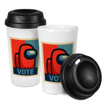 Among US VOTE, Κούπα ταξιδιού πλαστικό (BPA-FREE) με καπάκι βιδωτό, διπλού τοιχώματος (θερμό) 330ml (1 τεμάχιο)
