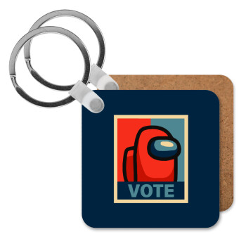Among US VOTE, Μπρελόκ Ξύλινο τετράγωνο MDF 5cm (3mm πάχος)