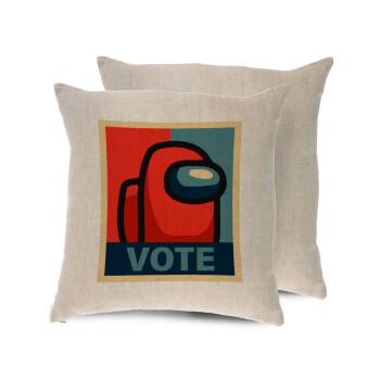 Among US VOTE, Μαξιλάρι καναπέ ΛΙΝΟ 40x40cm περιέχεται το γέμισμα