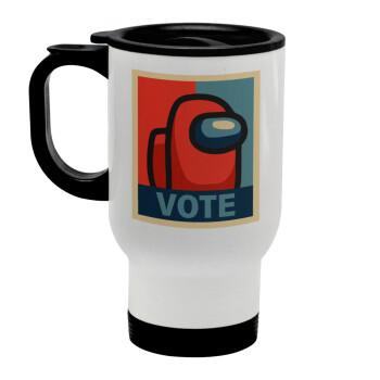 Among US VOTE, Κούπα ταξιδιού ανοξείδωτη με καπάκι, διπλού τοιχώματος (θερμό) λευκή 450ml