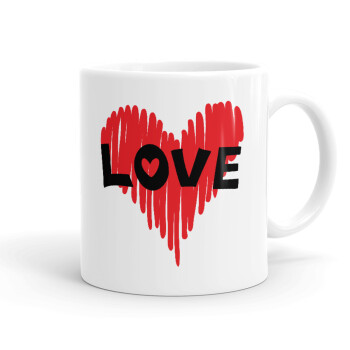 I Love You red heart, Κούπα, κεραμική, 330ml (1 τεμάχιο)