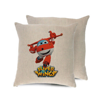 Super Wings, Μαξιλάρι καναπέ ΛΙΝΟ 40x40cm περιέχεται το γέμισμα