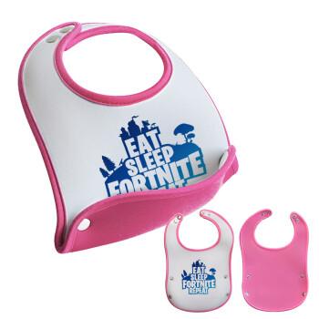 Eat Sleep Fortnite Repeat, Σαλιάρα μωρού Ροζ κοριτσάκι, 100% Neoprene (18x19cm)