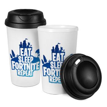 Eat Sleep Fortnite Repeat, Κούπα ταξιδιού πλαστικό (BPA-FREE) με καπάκι βιδωτό, διπλού τοιχώματος (θερμό) 330ml (1 τεμάχιο)