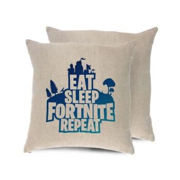Eat Sleep Fortnite Repeat, Μαξιλάρι καναπέ ΛΙΝΟ 40x40cm περιέχεται το γέμισμα