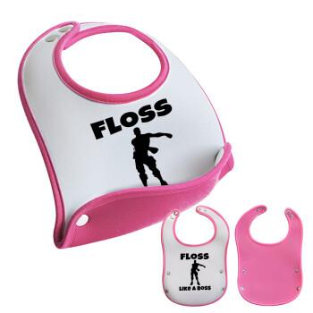 Fortnite Floss Like a Boss, Σαλιάρα μωρού Ροζ κοριτσάκι, 100% Neoprene (18x19cm)