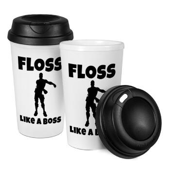 Fortnite Floss Like a Boss, Κούπα ταξιδιού πλαστικό (BPA-FREE) με καπάκι βιδωτό, διπλού τοιχώματος (θερμό) 330ml (1 τεμάχιο)